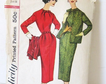 UNCUT 50s Vintage Pattern Dress & Jacket Set Simplicity 2219 Fitted Sheath Wiggle Day Dress + Blazer 1957 Mid Century, Bust 36