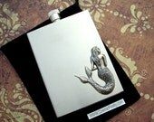 Silver Mermaid Flask Vintage Inspired Art Nouveau Art Deco Rectangular Square Edges Stainless Steel Steampunk Style