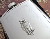 Silver Owl Flask Victorian Flask Silver Flask Woodland Flask Hip Flask Fancy Flask Women's Flask