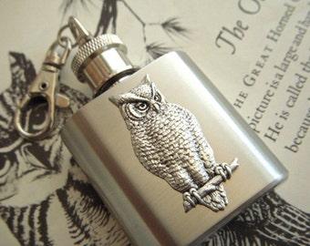 Mini Flask Keychain Silver Owl on 1 Oz  Miniature Size Owl Flask From Cosmic Firefly