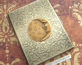 Celestial Moon & Stars Brass Cigarette Case Gothic Victorian Astronomical Steampunk Case Antiqued Gold Brass Finish Large Metal Card Holder