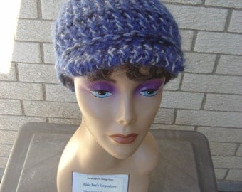 Blue Gray Black Visor Cap - OOAK MWL by an EtsyMom