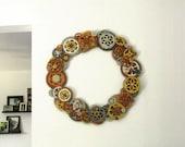CUSTOM Steampunk Wreath of Gears, 22 inch diameter