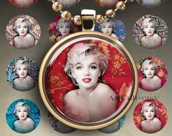 1 inch (25mm) and 1.5 inch size images MARILYN MONROE Digital Collage Sheet Printable Circles for round pendants, magnets, bottle caps