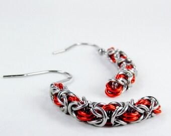 Orange Long Byzantine - Chainmaille Earrings