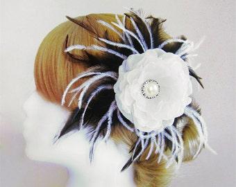 Black and white bridal head piece wedding black and white feather head piece Goth fascinator prom head piece Goth wedding gothic bride