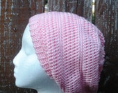Pretty Pink Crochet Slouchy Tam Beanie Hat, ready to ship.