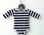Handmade Striped Bodysuit | Newborn Toddler Onesie | Steampunk Black Trendy Baby Boy Clothes Hipster Graphic Mod Retro Style Baby Girl