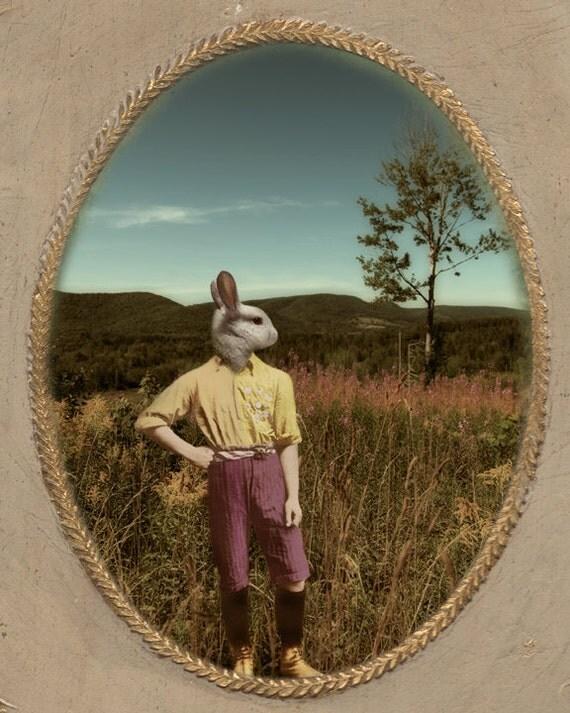 White Rabbit Art Bunny Animal Photography Photo Collage Pastel Colors Art for Kids Animal Portrait Print - One Bunny's Journey