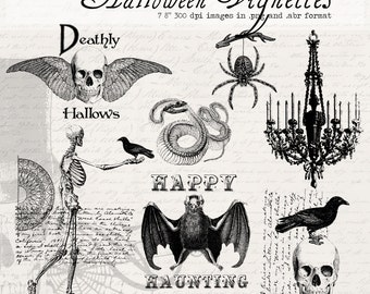 Halloween Vignettes Digital Clipart and Photoshop Brushes:  No. 5 - Commercial and Personal Use