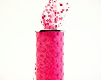 Polka Dot Tulle Spool, Dark Pink, Fuchsia, 6 inches wide, 25 yards, DIY Wedding