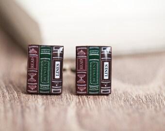Book cufflinks for men - Bookworm gift - Book lover gift - Book worm - Gift for reader - Reading jewelry - Book nerd gift (C035)