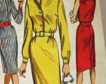 Vintage 1960s, Sewing Pattern, Butterick 2205, Slim Skirted, Shirtdress, Misses' Size 12