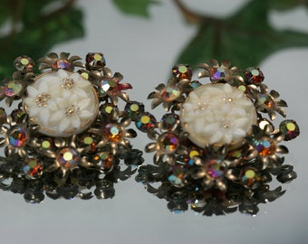 Vintage Goldtone  Rhinestone and Cast Glass Clip Earrings
