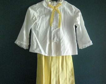 Vintage Girls Yellow Outfit w/ Pleated Skirt, 1950's