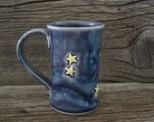 Starry Night Coffee Mug - Midnight Blue - Pottery Mug - Van Gogh Inspired - by DirtKicker Pottery