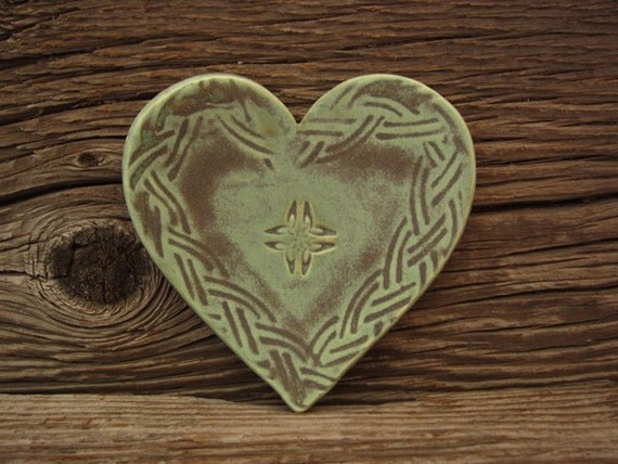 Heart Shaped Ring Dish in Patina Green - Celtic Knot - by DirtKicker Pottery