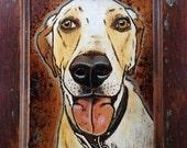 Custom woodburning pet portrait