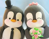 Custom wedding cake toppers penguins - love birds personalized bride groom cute funny elegant pink black white wedding gift penguins lovers