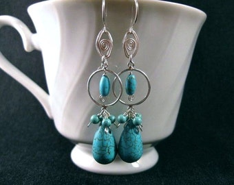 Turquoise Cluster Earrings- Silver, Hammered Wire, Gemstone Earrings