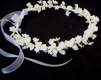 Infant floral headband Artificial Babys Breath Flower Crown white Bridal headpiece Wedding hair wreath accessories  circlet baby photo prop