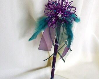 Wedding party Flower Girl Wand fairy princess glitter bouquet alternative purple teal feather wand bridal accessories festive decoration