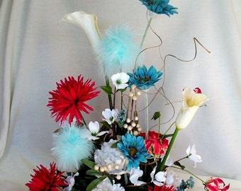 Turquoise red Floral arrangement Large Wedding Centerpiece bridal accessories reception decor decoration headtable silk flowers Home