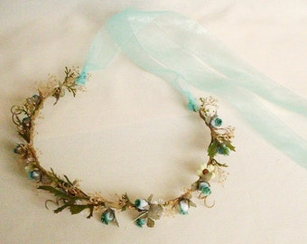 Dried Flower Crown AmoreBride Hair wreath accessories -Michelle- babys breath Flower Girl Halo headwreath bridal headpiece teal aqua Wedding