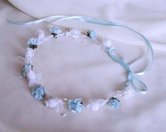 Serenity Flower Crown Baby blue flower girl halo wedding bridal hair wreath rhinestones floral circlet photo prop wedding accessories