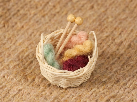 Stash Basket Brooch - Mini Yarn Skeins and Knitting Needles