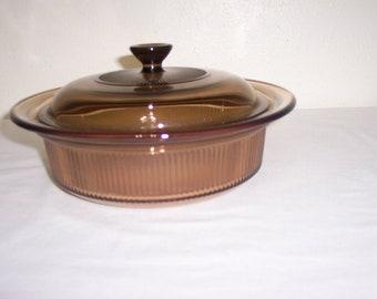 Visions Casserole Amber Glass 1 Qt Corning Ware