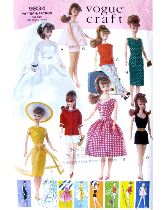 Vogue 9834 Vintage Barbie Doll Clothes Pattern UNCUT Original OOP 11 1 ...