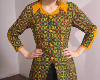 Vintage 60's Structured Mod Tribal Kaleidoscope Moroccan Print Pattern Jacket with Matching Yellow Pencil Skirt (sz 4 6)