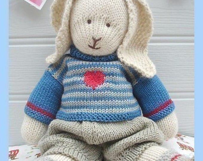 OSCAR RABBIT / Bunny/ Pdf Pattern/ Toy Knitting Pattern/ Plus Free Handmade Shoes Knitting Pattern/ INSTANT Download