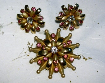 Spikey Starburst Flower Brooch Set with Pink Rhinestones Lovely Layered Brass