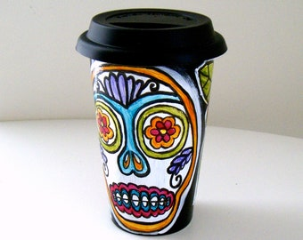 Black Ceramic Travel Mug Hand Painted Sugar Skull Flowers Day of the Dead Folk Art Eco Friendly dia de los muertos - MADE TO ORDER