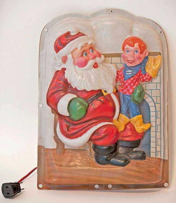 """RESERVED For Fred.....Rare HOWDY Doody And Santa Illuminated """"Wall Plaque Light Lamp"""" Christmas Lights"""