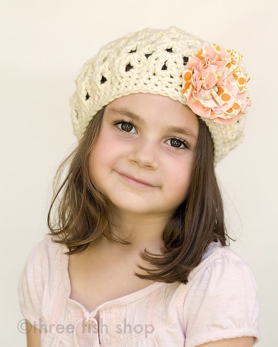 Girl Beret - Wool Beret - Girl Winter Hat - Fall Hat - Cream Teatime Beret with Flower Clip