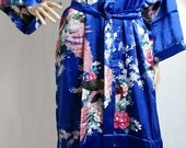 Sapphire Blue Silk Bathrobe kimono bridesmaid bride mother of the bride house coat dressing gown personalised custom