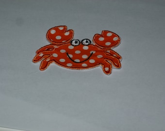 Embroidered Iron On Applique- Crab