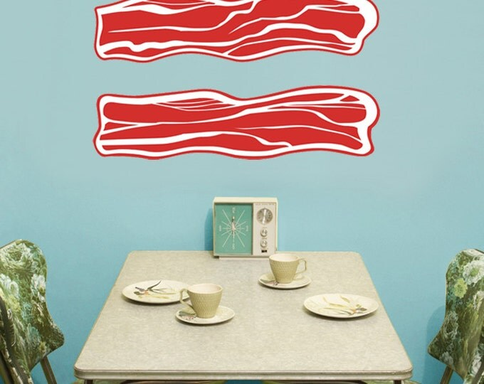 bacon vinyl wall decals, meat art, bacon wall sticker art, FREE SHIPPING