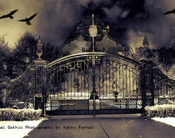 Gothic Gate Photography, Haunting Surreal Gothic Gate, Eerie Dark Gate Flying Ravens, Spooky Dark Eerie Gate Art, Gothic Surreal Photography