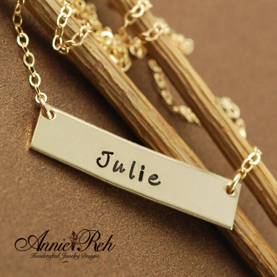 Personalized Gold Bar Necklace, Gold Rectangular Bar, Mother Jewelry, Hand Stamped Jewelry, Name Jewelry, Name Bar Necklace, Birthday Gift