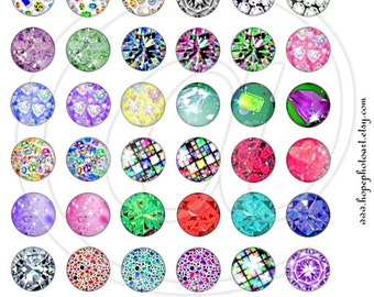 Diamonds and Gemstones Digital Collage Sheet 1 inch Circles bottlecaps jewelry pendant ring glass domes round bubbles Uprint 300jpg