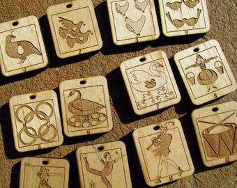 Wooden Advent Calendar Ornaments 12 Days of Christmas