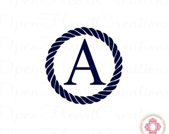 Nautical Vinyl Wall Decals Single Initial Monogram Baby