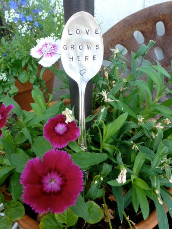 SALE ilver Plated Hand Stamped Garden Marker Spoon LOVES grows HERE