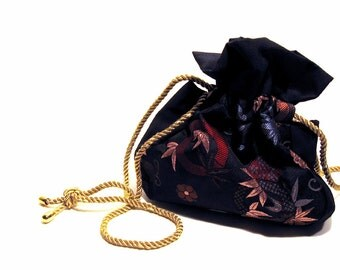 Vintage Drawstring Purse Metallic Fabric Evening Bag Bohemian Fashion Steampunk