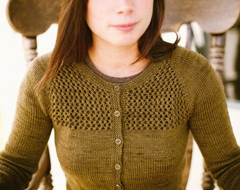 KNITTING PATTERN // Grace cardigan // top-down sock yarn lace mesh sweater -- PDF