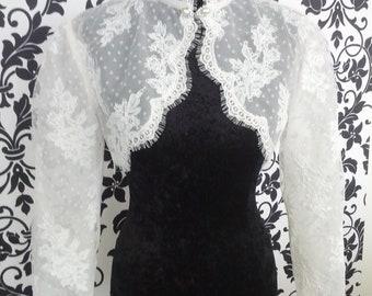 Sample Sale French Alencon Lace Bolero with High Neck and Clasp Size Medium